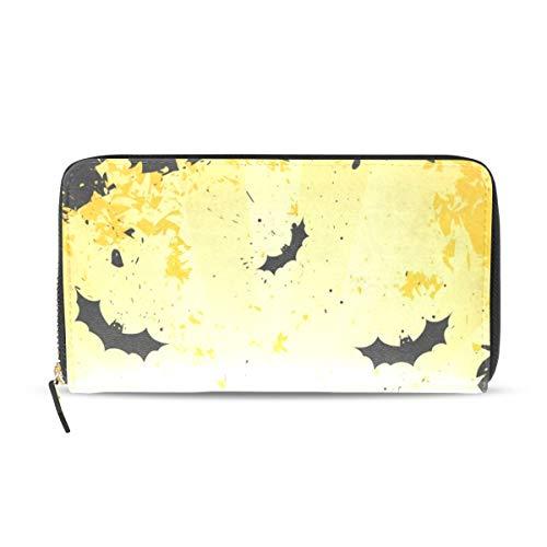 Womens Wallets Grungy Halloween with Pumpkins and Bats Leather Passport Wallet Coin Purse Girls Handbags ()