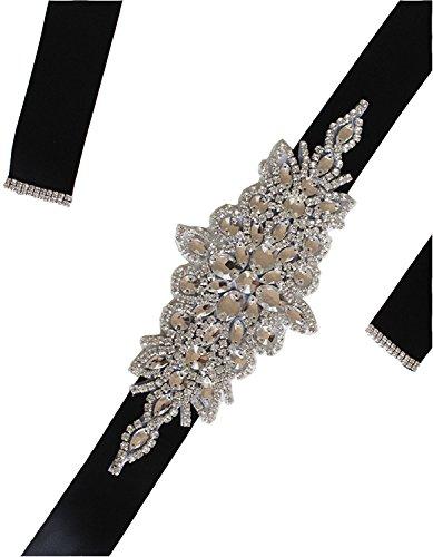 WMlover women's Crystal Rhinestone Bridal Belt Ribbon Wedding Accessories Sashes Black28 (Black Ribbon Belt)