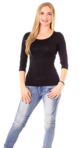 Damen 3-4 Arm Basic Rundhals Shirt Sleeve 3/4 Ärmel in vielen Farben T-Shirt Langarm einfarbig - Schwarz L-40