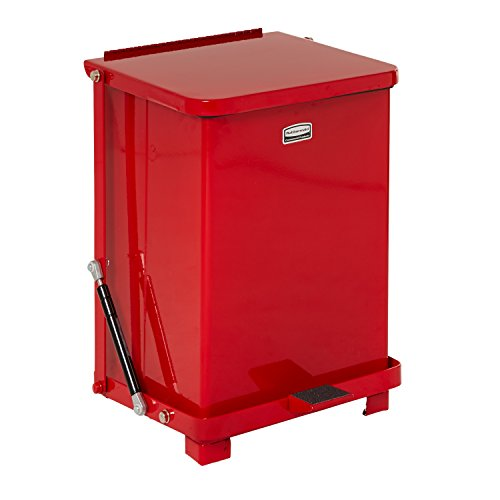 [Rubbermaid Commercial FGQST7EPLRD The Silent Defenders Steel Step Trash Can, Square with Plastic Liner, 7-gallon, Red] (Square Steel Step)