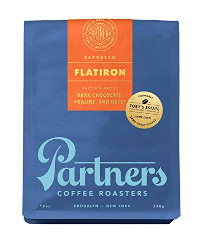 Partners Coffee/Toby's Estate, Flatiron Espresso Blend 12 oz bag, Whole Bean Coffee (Brittle Ounce Peanut 12)