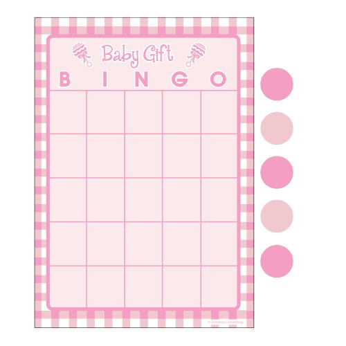 Creative Converting Baby Shower Girl Gingham 10 Count Bingo Game ()