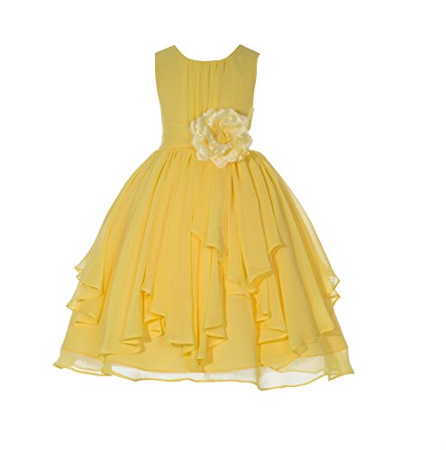 ekidsbridal Elegant Yoryu Chiffon Ruched Bodice Flower Girl Dress Wedding Pageant Toddler 162s 6