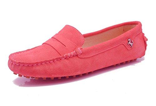 Minishion Jenter Kvinners Uformelle Komfortabel Semsket Skinn Kjøre  Mokkasiner Loafers Båt Sko Flats Semsket-rosa