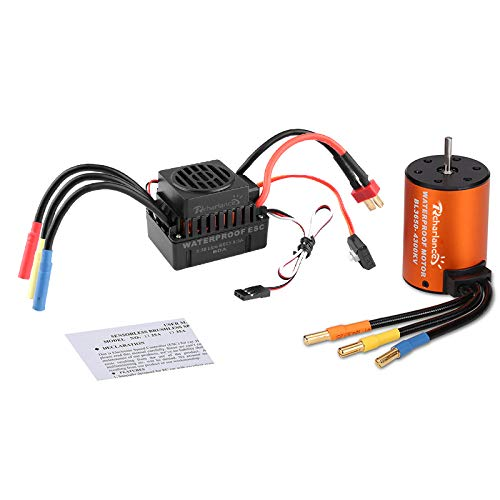 Rcharlance 3650 4300KV Brushless Motor 3.175mm Sensorless with 60A ESC Brushless Waterproof Electronic Speed Controller Combo Set Upgrade Power System for 1/10 RC Car Boat