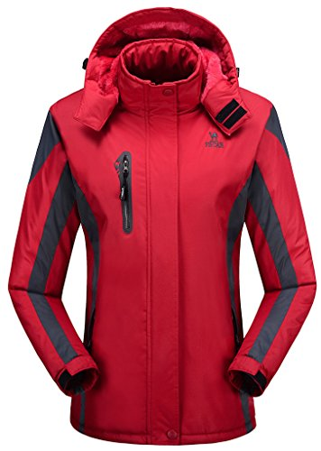 HENGJIA Women's Alternative Outerwear Coats Snowboarding Fleece Lined Skiing Jackets Red US Medium/Asian 2XL (Medium Snowboarding)