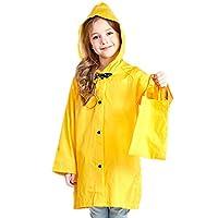 Yiluweinir Kids Raincoat with Bows Girl Boy Waterproof Hood Rain Jacket Outdoor Age 2-10 with Bag YEWLLO 2XL