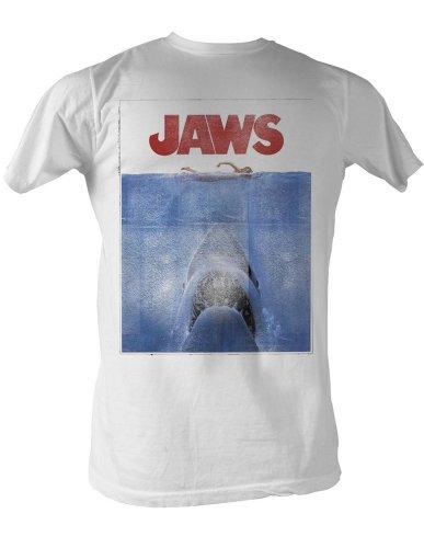 (Jaws 1970's Shark Spielberg Movie Amity Island Poster Adult White T-Shirt 2XT)