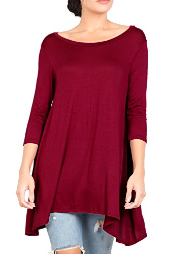 Love In T2411 3/4 Sleeve Round Neck Relaxed A-Line Tunic T Shirt Top Burgundy S by Love In