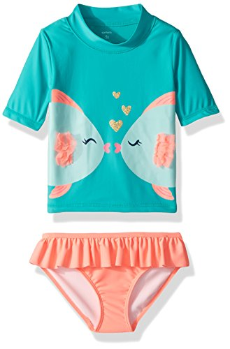 Carter's Girls' Toddler Two Piece Swimsuit, Turquoise Fish, 3T Multi