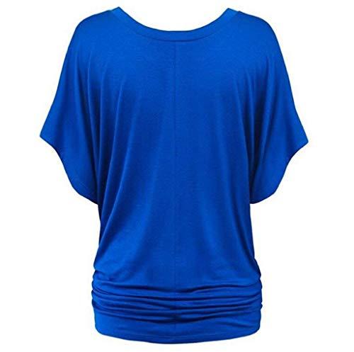 BOLAWOO Tshirts V Chauve Manches Souris Casual Blau Branch Femme Bouffant Chic Manche Shirt Elgante Mode Uni Tee Casual Shirt Plier Shirts Et Courtes Cou rZABqrxw