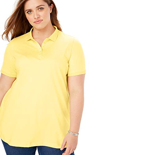 88fc9bff57 Woman Within Women's Plus Size Perfect Polo Tee - Yellow Cream, ...
