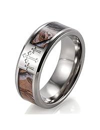 SHARDON Men's 8mm Titanium 3 Crosses Tree Camo Wedding Ring