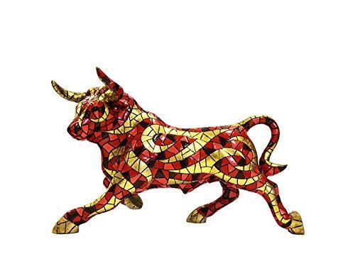 Laure TERRIER Ceramic bull statue, model Barcino mosaic. Length 9,4 inches