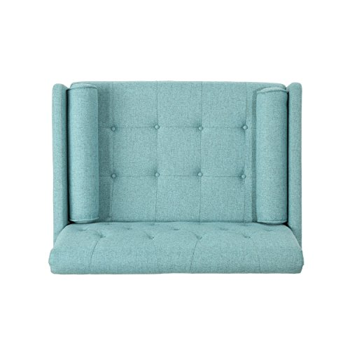 Christopher Knight Home 305842 Nour Fabric Mid-Century Modern Club Chair, Blue, Natural - 9