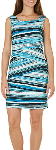 Stripped Sleeveless Women's Dress Connected Turquoise Tiered qP6wx5