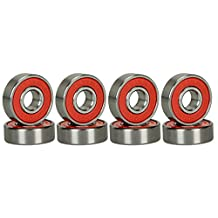 SCSK8 ABEC 9 Bearings Skateboard Deck Longboard Red Silver 1 set of 8 (101005003128)