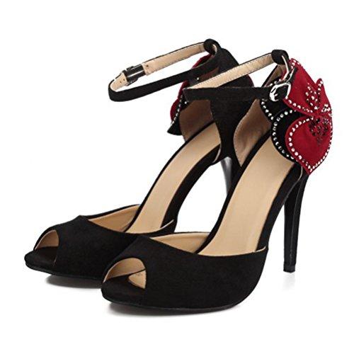 Femme Roman Femmes Taille Grande Chaussures Femmes Fleurs Talons Boucle Chaussures Strass Poissons Talon Hauts Bouche QPYC Parti Sandales noir Fine Sandales AxOqwdzq4