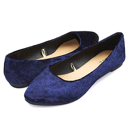 Sara Z Womens Crushed Velvet Pointed Ballet Flat Slip On Shoes Navy Blue Size (Velvet Ballerina Women Flat Shoes)