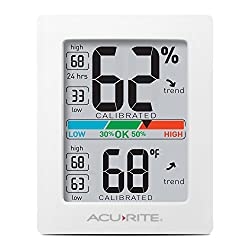 AcuRite 01083 Indoor Thermometer & Hygrometer with Humidity Gauge & Pro Accuracy Calibration, White