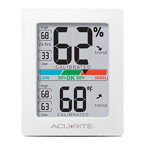 Acu Rite Plastic Thermometer - AcuRite 01083 Indoor Thermometer & Hygrometer with Humidity Gauge & Pro Accuracy Calibration, White