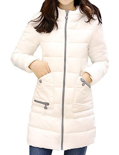 Simple Size Women's Coat Sleeve FUCHSIA Long Plus Down Hooded Work Long XL Casual YRF Solid nwYqSI4I