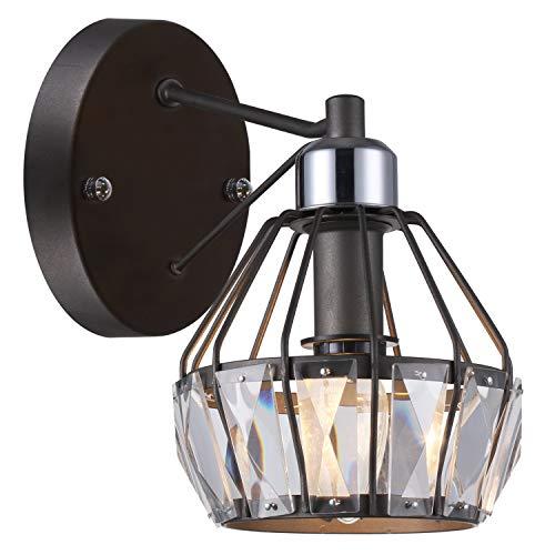 Light Crystal 1 Sconce (SOLFART 1 Head Vintage Crystal Wall Light Black Finishing Wall Lamp Mount Sconce)