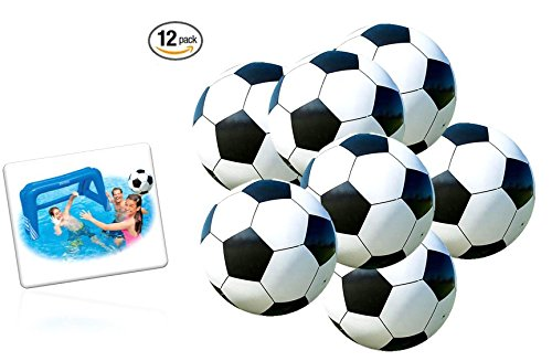 Playo Inflatable Soccer Balls - 9 inch Beach Balls - 1 Dozen