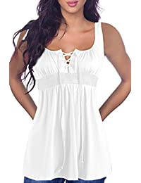 Sunfury Women Sexy V Neck Sleeveless Lace Up Tank Tops Bodycon High Waist Blouse