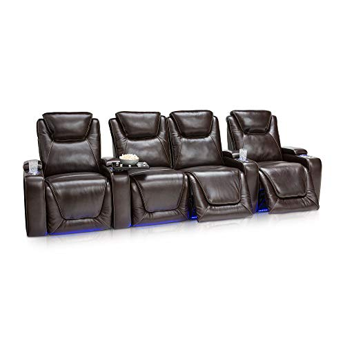 Seatcraft Equinox Home Theater Seating Power Recline Leather (Row of 4 Loveseat, Brown) ()