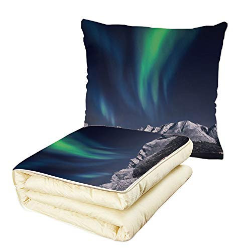 iPrint Quilt Dual-Use Pillow Sky Decor Northern Lights Aurora Over Fjords Mountain at Night Norway Solar Image Art Multifunctional Air-Conditioning Quilt Green Dark Blue by iPrint