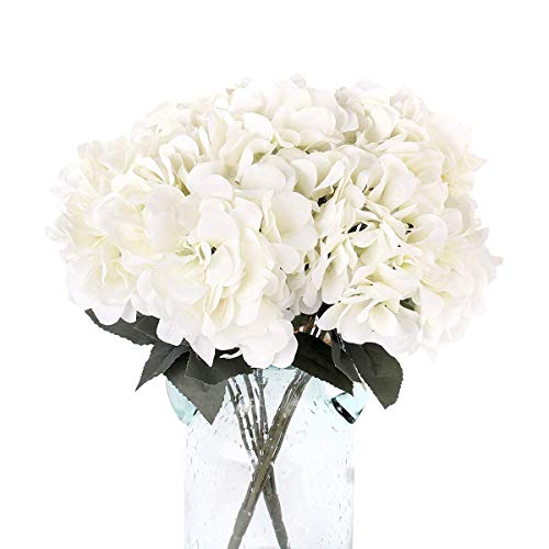 Blooming Paradise 5 Artificial Fake Flowers Plants Silk Hydrangea Arrangements Wedding Bouquets Decorations Plastic Floral Home Kitchen Garden Party Festival Bar DIY(White,5 Flower Heads) (Arrangements Room Floral Dining)