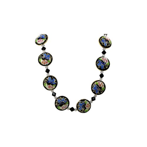 Gem Avenue Sterling Silver Black Cloisonne Bead Necklace 20 inch with Swarovski Elements Crystal