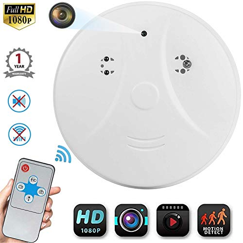 Hidden Camera Smoke Detector,Amayia Nanny Camera and Hidden Camera,Infrared Remote Control Wall Mount Motion Detection Surveillance Camera,USB Interface,SD Card Slot,Bottom View Hidden Security Camera