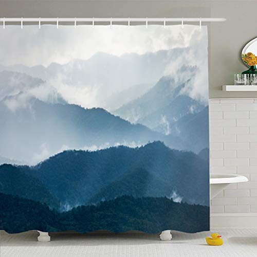 Ahawoso Shower Curtain 66x72 Inches Smoke Gray Mist Layers Dark Blue Mountain Range Cloud Winter Nature Hill Rainforest Season Thailand Waterproof Polyester Fabric Set with Hooks -
