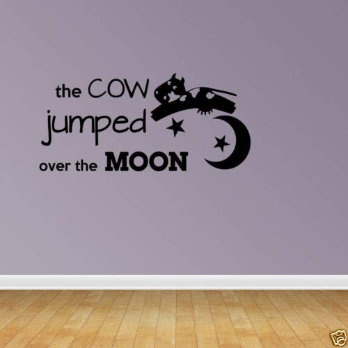 Diuangfoong Wall Decal Quote Cow Jumped Over Moon Vinyl Lettering Nursery Decal Rhyme (Cow Jumped Over The Moon Nursery Rhyme)