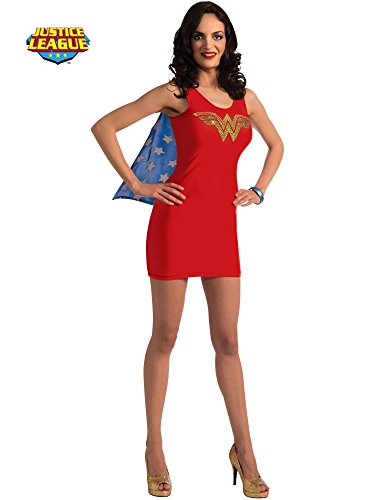 (Rubie's DC Comics Justice League Superhero Style Adult Dress with Cape Rhinestone Wonder Woman, Red, Large Costume)