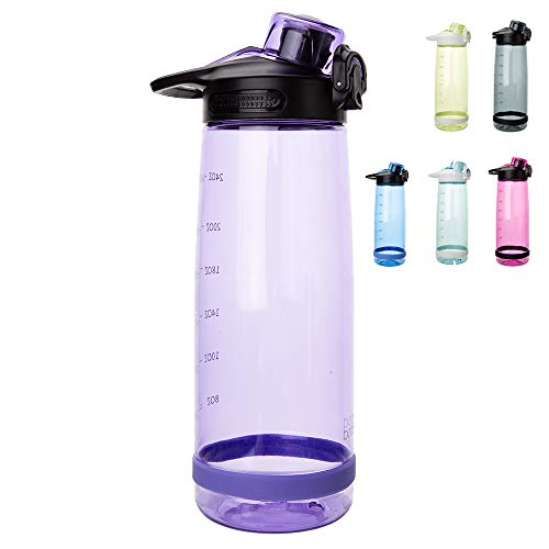 (Sports Water Bottle 27oz(800ml) Plastic BPA Free Tritan Leak Proof Wide Mouth with Flip Lid Sipping Spout for Camping, Gym, Yoga, Hiking and Exercise)