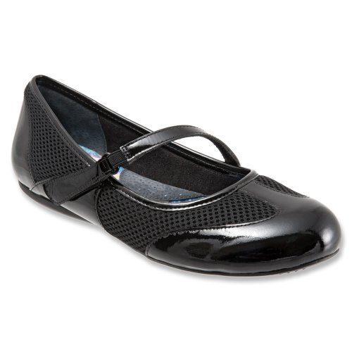 SoftWalk Women's Nadia Black Patent Flat 7 N (AA)