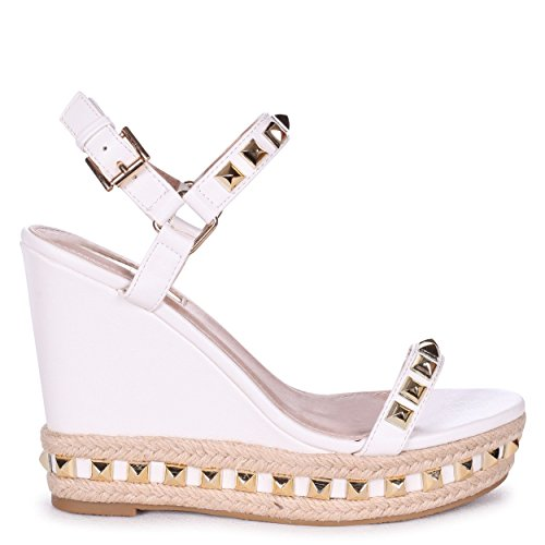 Linzi Madonna - White Wedge with Studded Detail & Rope Trim White tWGTleJZV5
