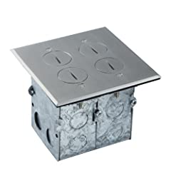 Energies 975510-SS model floor box can be installed in hardwood flooring, carpeting, tile flooring, granite and marble countertops. It is not intended for use in concrete slabs. This 2-gang model comes with a double screw cap cover, two 20A d...