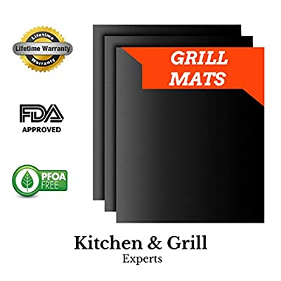 Best BBQ Grill Mats Thick Non-Stick | FDA-Approved Grilling Sheets | Reusable BPA-Free Grill Liners (Set of 3)!