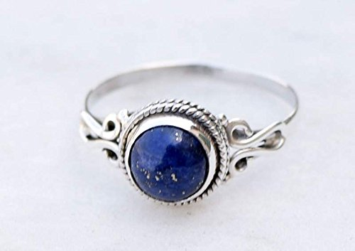 US size 7 lapis lazuli and coral size 55 Women/'s ring in Silver 925 adjustable.