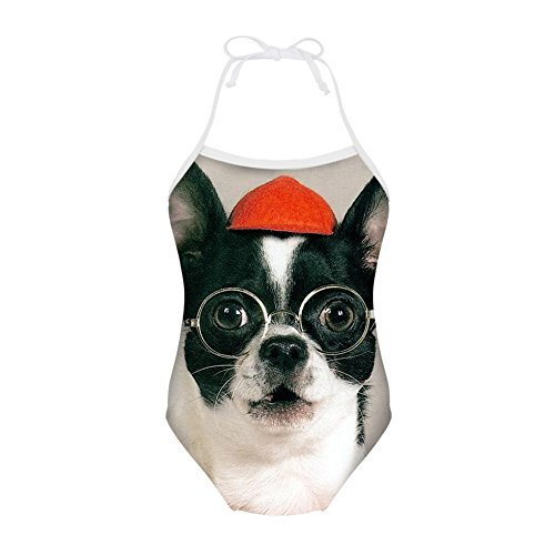 Sannovo Boston Terrier Breed Standard One Piece Animal Swimsuit Girl Beachwear - Standard Boston Terrier Breed