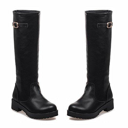 A&N Ladies Square Heels Buckle Platform Imitated Leather Boots Black L1uJKire