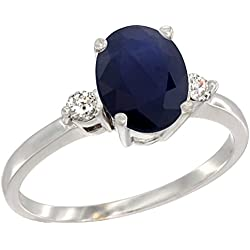 10K White Gold Natural Blue Sapphire Ring Oval 9x7 mm Diamond Accent, sizes 5 to 10