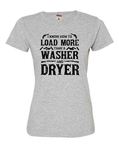 Price comparison product image Go All Out Screenprinting Medium Heather Womens I Know How To Load More Than A Washer and Dryer Deluxe Soft T-Shirt