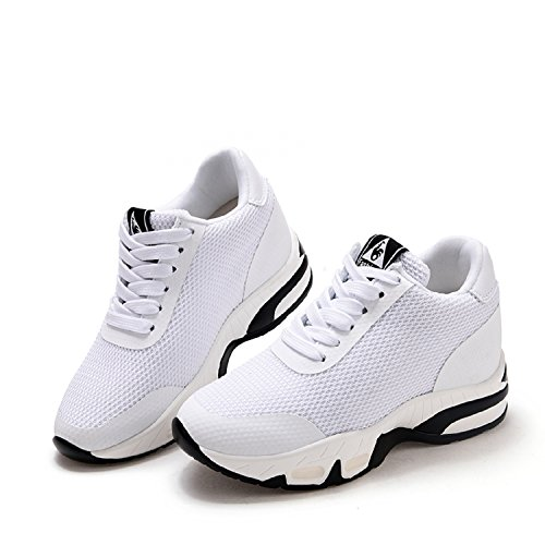 Hidden Walking Sneakers Wedges Mastery Heel cm Gym H White Flat Platform Shoes 8 Womens Sports Trainers Ladies Fitness qnUOOvCxH