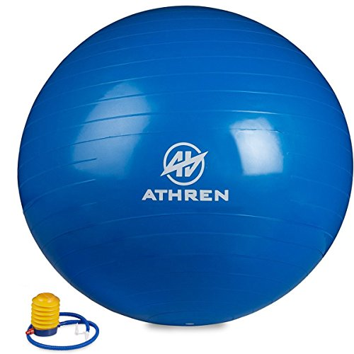 Exercise Ball with Foot Pump (GYM QUALITY FITNESS BALL) - 2000lbs Anti-burst - Also Known as: Fitness Ball - Yoga Ball - Swiss Ball - Multiple Colors and Sizes - (Blue, 65cm)