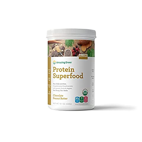 Amazing Grass Plant Protein Superfood Powder, 10 Servings Tub, Chocolate Peanut Butter, 15.1oz, Plant Protein Powder, Pea Protein, Hemp protein, Chia, Organic, Gluten Free, vegan protein,